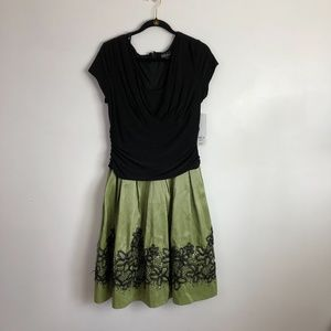 NWT S.L.Fashion black & green embroidered dress 16